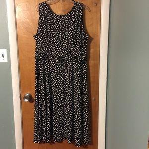 CJ Banks black/white polka dot midi dress